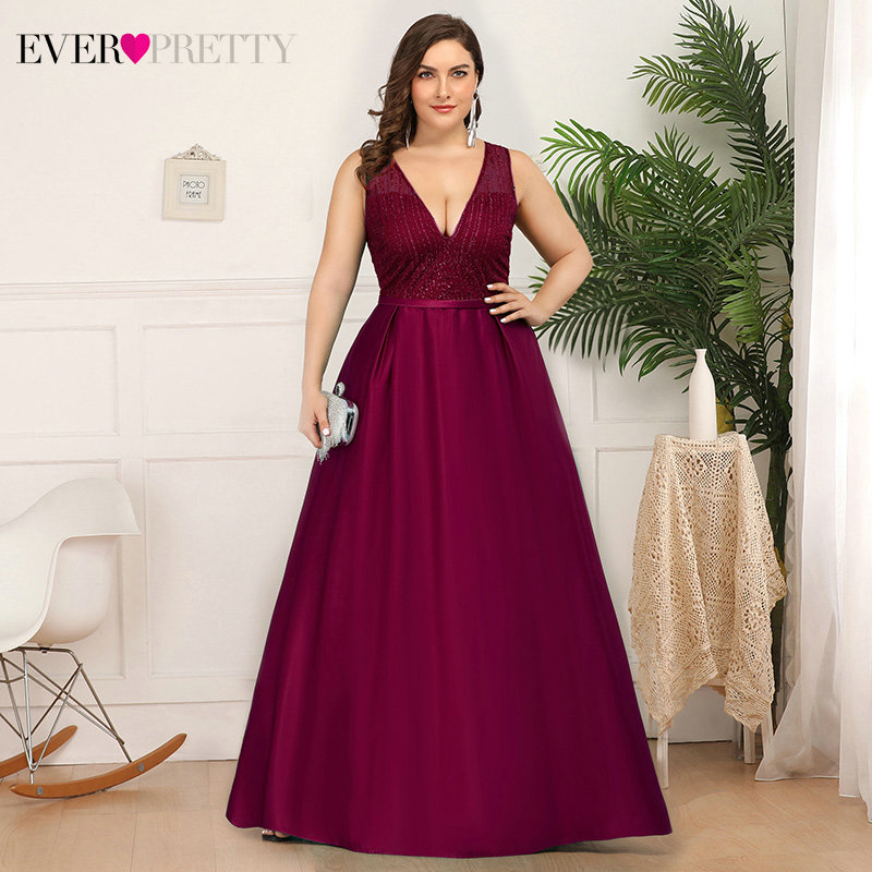 Plus Size Satin Evening Dresses Ever Pretty Deep V-Neck Sequined Ruched Elegant Christamas Holiday Party Gowns Vestido Longo