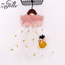ZAFILLE Summer New Baby Girl Clothes Pineapple Printed Toddler Infant Girls Dress Patchwork Mesh Kids Clothes Baby Girls Dress zafille new baby girl clothes summer dress for girls patchwork mesh girls dress short sleeve toddler kids clothes princess dress