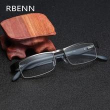 Gafas de lectura de negocios RBENN hombres Vintage Metal medio marco presbicia gafas de lectura para hombre + 1,25 1,75 2,75 3,75 5,0 6,0