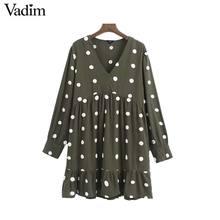 Vadim kadınlar zarif polka noktalar tasarım mini elbise V boyun uzun kollu kadın rahat düz stil elbiseler vestidos QD044