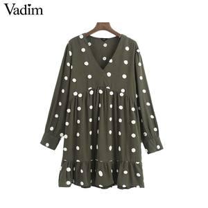 Image 1 - Vadim 여성 우아한 폴카 도트 디자인 미니 드레스 v 목 긴 소매 여성 캐주얼 스트레이트 스타일 드레스 vestidos qd044