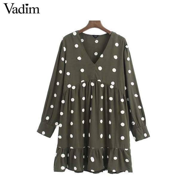 Vadim 여성 우아한 폴카 도트 디자인 미니 드레스 v 목 긴 소매 여성 캐주얼 스트레이트 스타일 드레스 vestidos qd044