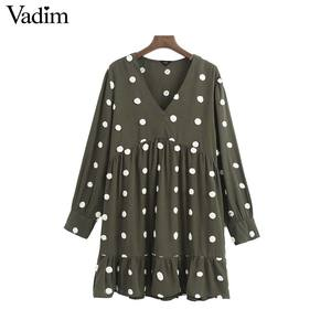 Image 1 - Vadim women elegant polka dots design mini dress V neck long sleeve female casual Straight style dresses vestidos QD044