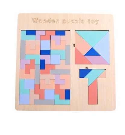 ثلاثية الأبعاد خشبية تتريس بازل قطع لعبة الخشب تانجرام الدماغ المضايقون لعبة الأطفال ما قبل المدرسة لعبة تعليمية