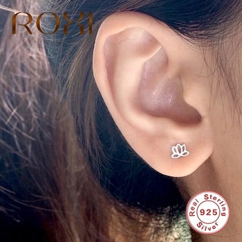 ROXI 925 Sterling Silver Lotus Earring ins Mini Flower Stud Earrings for Women Wedding Brincos Silver 925 Jewelry Pendientes ani 925 sterling silver women stud earring cz earring handmade jewelry bird shape design brincos para as mulheres 925 jewelry