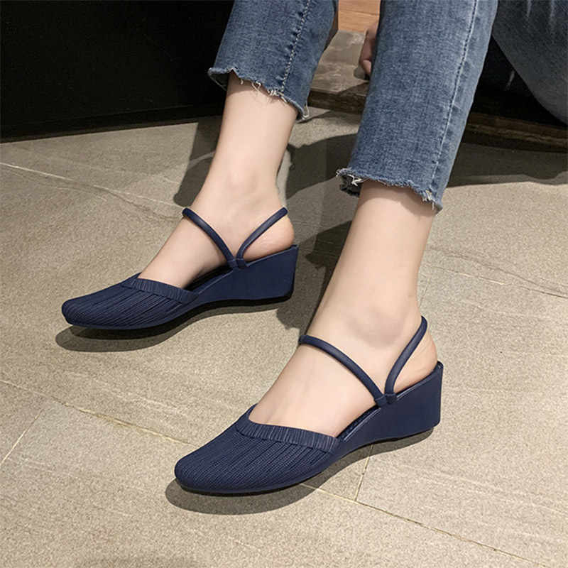 MCCKLE New Woman Pointed Toe Wedge Casual Slippers Women Slip On Fashion Beach Sandals Pleated Female Two Wear Shoes 2020 New