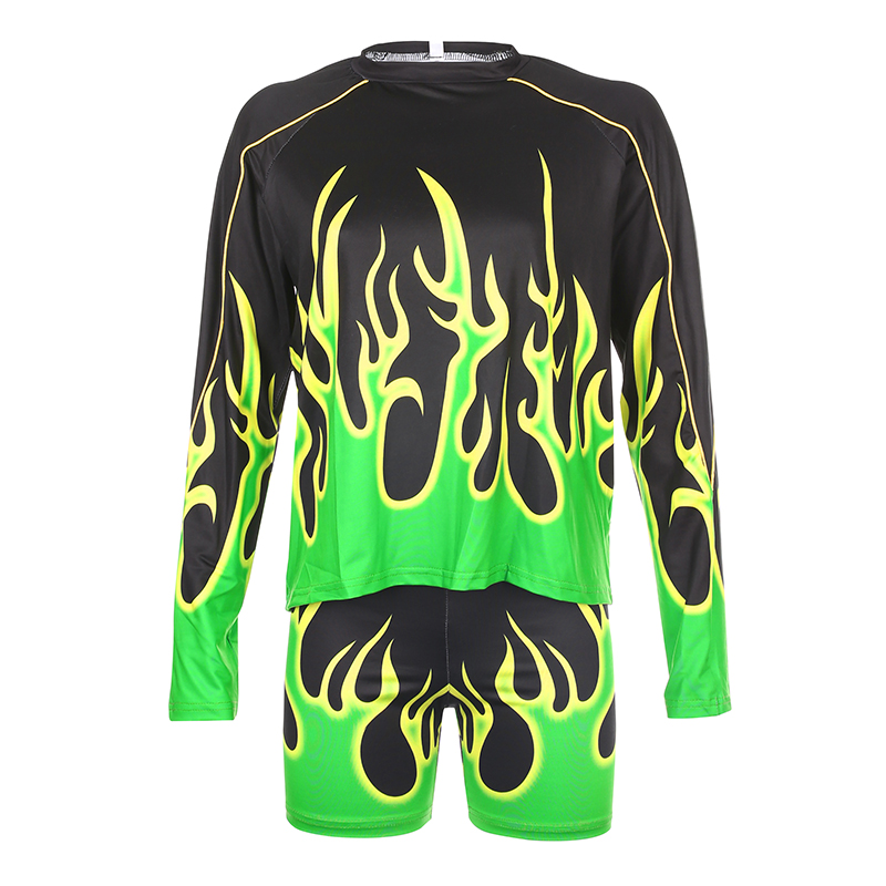 Sweetown Flaming Fire Print Two Piece Set Biker Shorts Set Casual Top And Shorts Activewear Tracksuit Women Workout Club Outfits 5