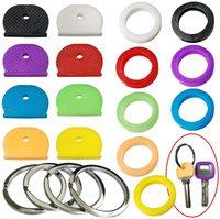Tapas de llaves, etiquetas, tapas de cabeza de llave codificadas por colores, etiqueta, identificación, anillos, identificación de llaves