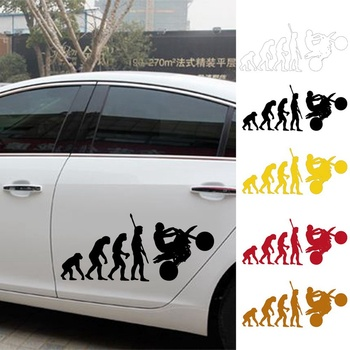 Motorcycle Car Stickers Fun Reflective Vinyl Decals Fashion Human Evolution For HONDA Dudi BMW HYUNDAI image