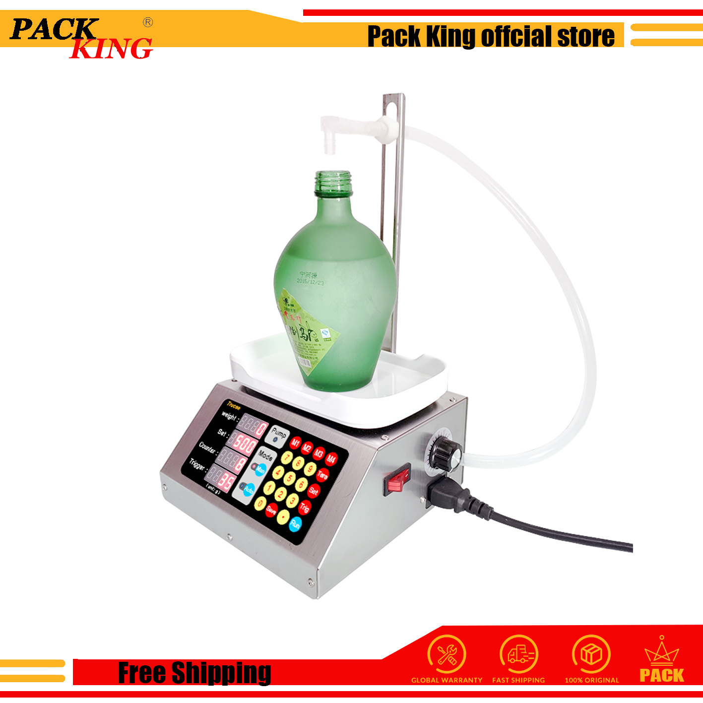 Weighing Diaphragm Pump Filling Machine Electronic Scale Liquid Filler Oil Water Drink Wine Juice 10ml-3000ml