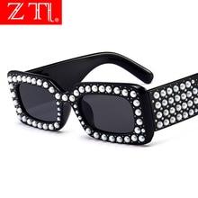 ZT Venetian Pearl Decoration Women Square Sunglasses Oversized Fashion Ladies Pink Gradient Lens Shades UV400