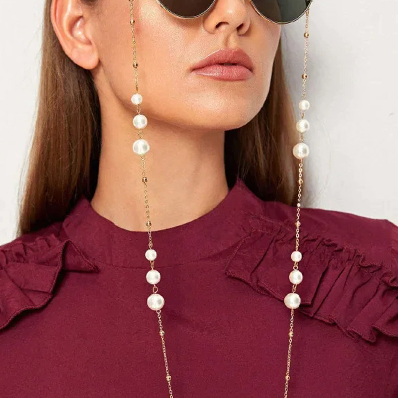 New Fashion Ladies Women Eyeglass Chains Women Imitation Pearls Sunglasses Chains Cadena Para Gafas Glasses Chain Dropship