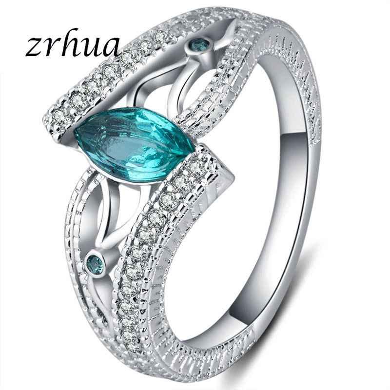 Оригинальные 925 пробы серебряные кольца для женщин винтажные кольца Anillos синий/красный/зеленый AAA циркон ювелирные изделия для девочек
