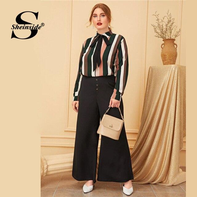 Sheinside Plus Size Elegant Stripe Print Blouse Women 2019 Autumn Bow Tie Neck Colorblock Blouses Ladies Casual Print Top 3