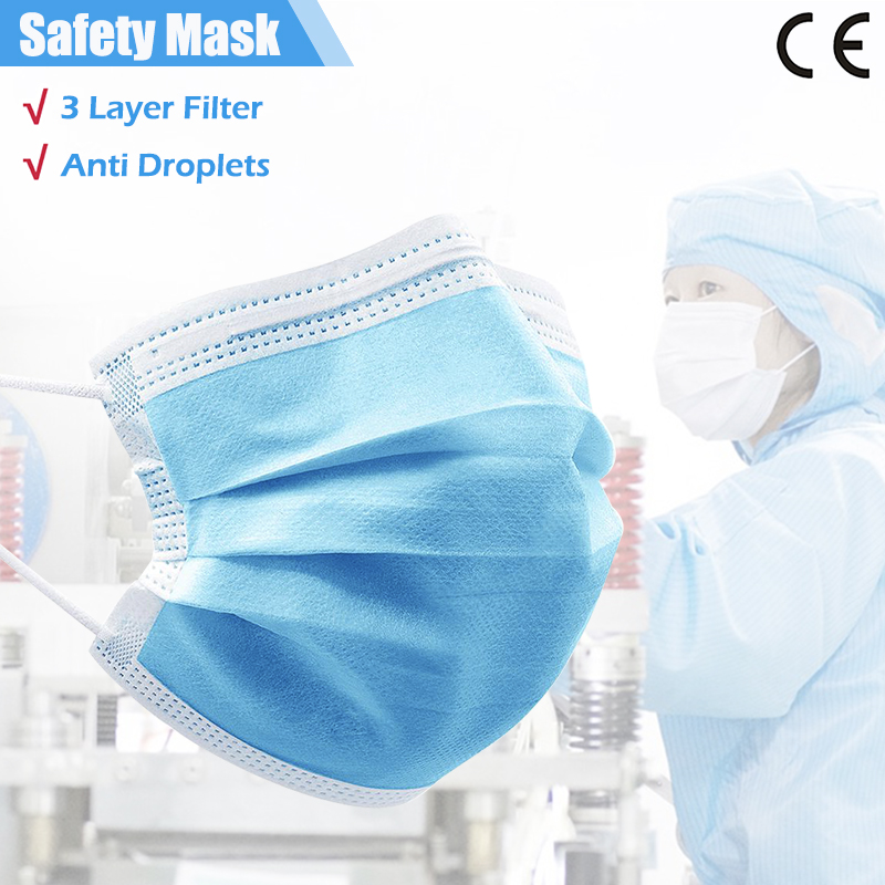 50/100/200 Pcs 3 Ply Mouth Mask Disposable Safety Face Mouth Mask Anti-Dust Anti Pollution Non-Woven Mask