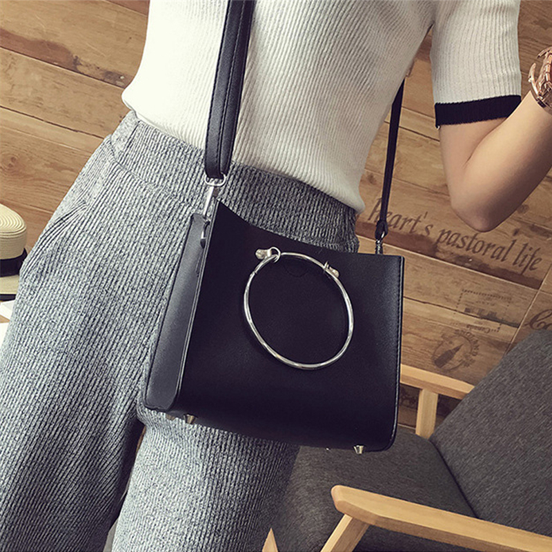 2PCS / Sets Creative Personality Fashion Round Ring Hoop Handbags Shoulder Bags Crossbody High Quality PU Leather Composite Bag