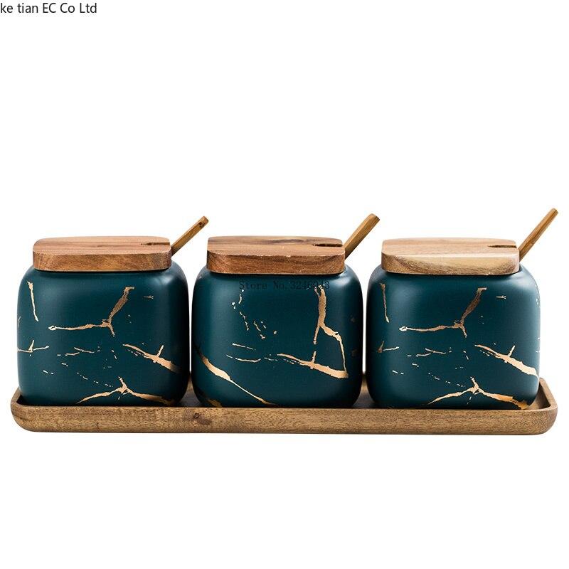 Nordic Matte Marbled Ceramic Seasoning Cans 3 piece set 4