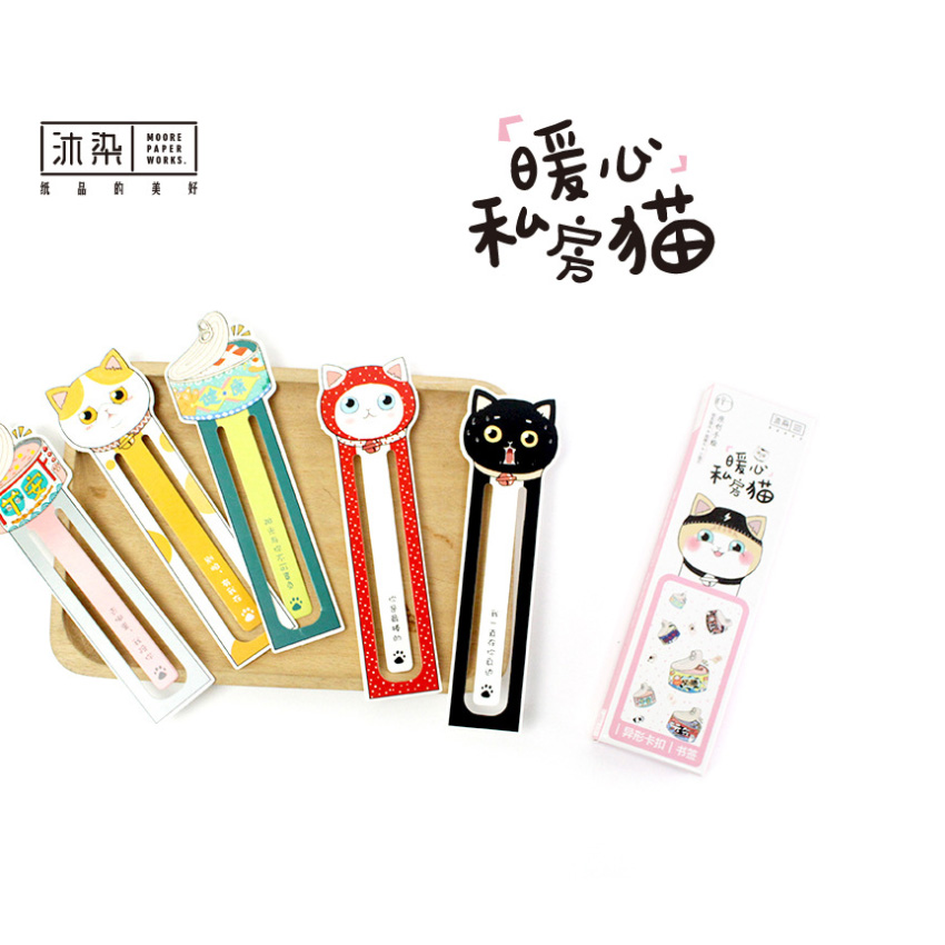 30pcs/pack Japanese Style Warm Heart Private House Cat Paper Bookmarks For Books Stationery Office Supplies Teacher Gift