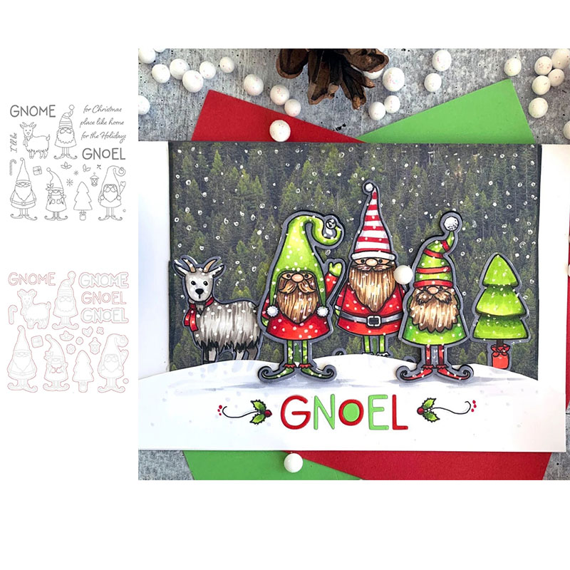 <font><b>Christmas</b></font> Gnome Holiday Decoration <font><b>Stamps</b></font> <font><b>And</b></font> <font><b>Dies</b></font> for DIY Scrapbooking Embossing Paper Cards Making Crafts Goat <font><b>Cutting</b></font> <font><b>Die</b></font> image