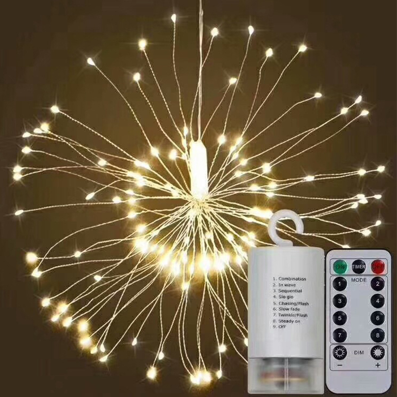 120 LED Firework Copper Lights 8 Modes Dimmable String Fairy Lights with Remote Control Decorative Hanging Starburst Lights for in Lanterns from Home Garden