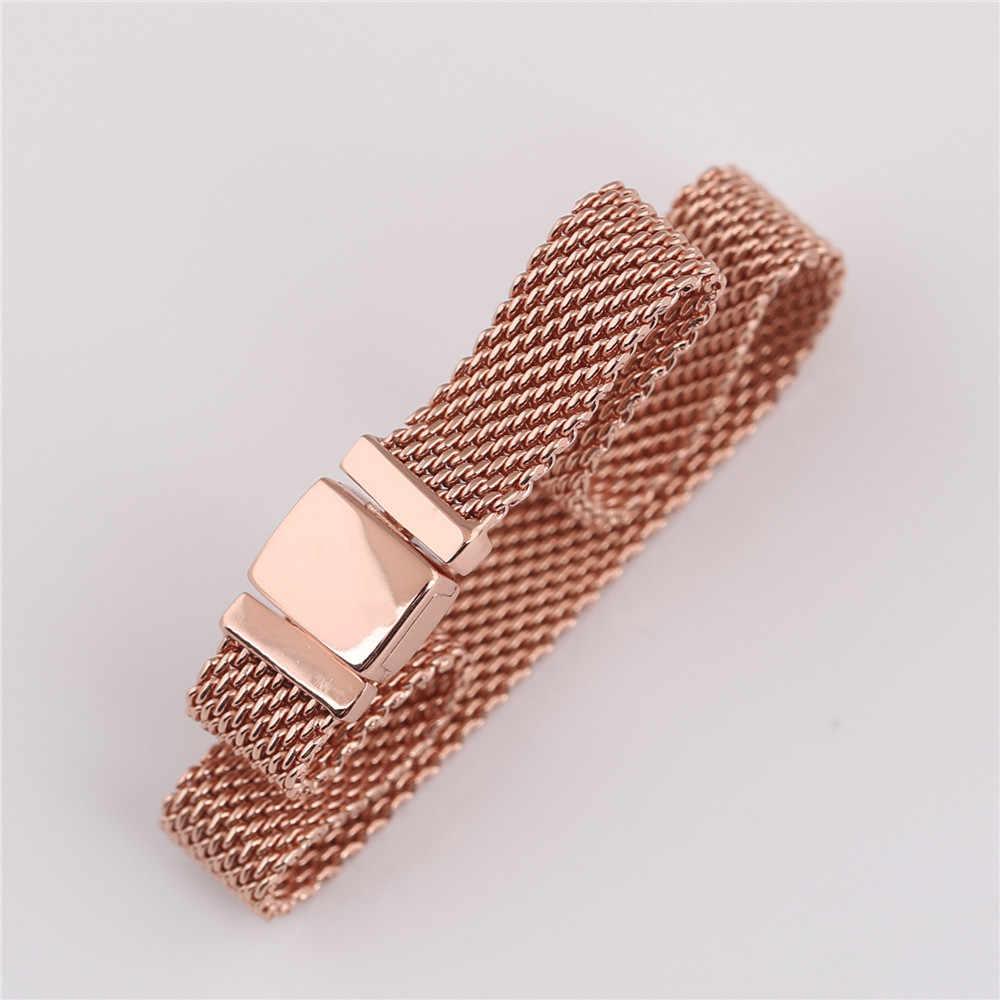 Original 925 Sterling Silber Armband Rose Gold Woven Mesh Reflexions Armbänder Armreif Fit Frauen Perle Charme Diy Mode Schmuck