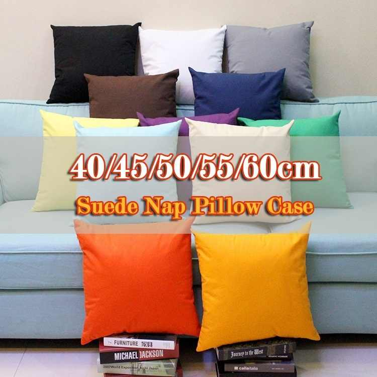 Solid Suede Pillow Set Bed Hug Pillowcase Livingroom Cute Candy Color Multicolor Pillow Case Cushion  40/45/50/55/60cm