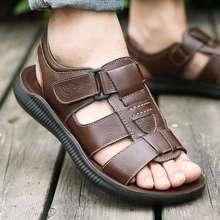 Hook-Loop szycia sandały męskie prawdziwej skóry stałe kapcie slip-on plaża letnie buty męskie sandały casual sandale homme tanie tanio DUOYANG Skóra bydlęca Podstawowe NONE LEISURE RUBBER Mieszkanie (≤1cm) Pasuje prawda na wymiar weź swój normalny rozmiar