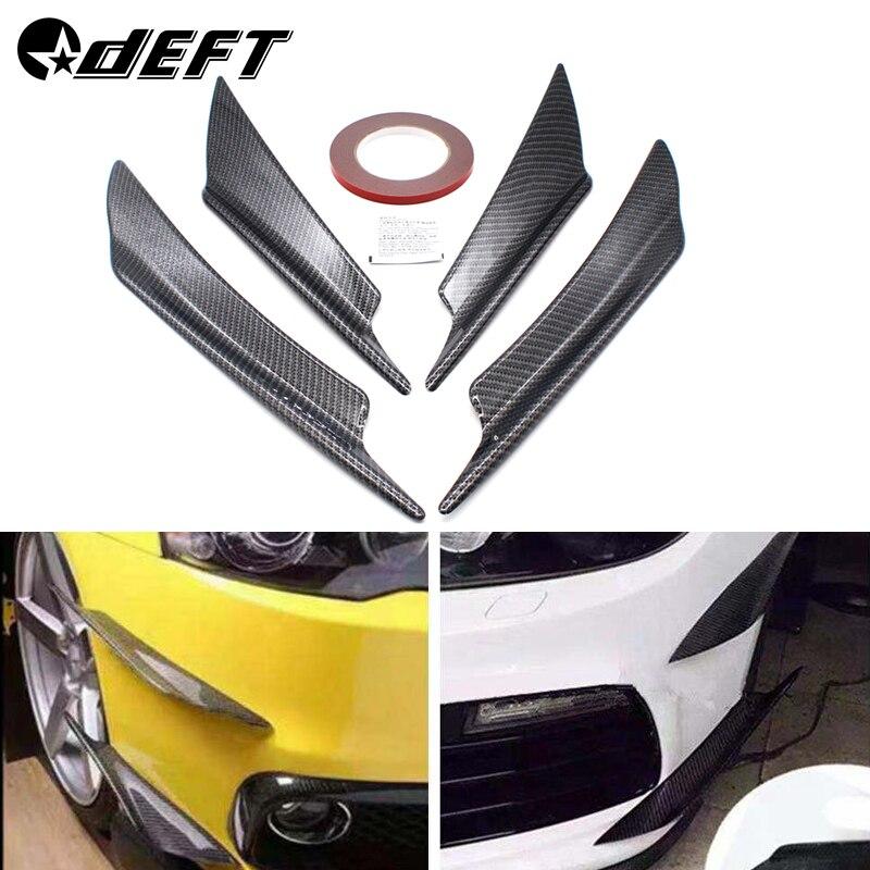 4Pcs//Pack Plastic Spoiler Bumper Lip Fins Canards Splitter Chin Diffuser for Car