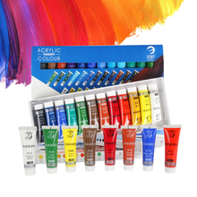 24 Colors 15ML Tube Acrylic Paint set color Nail glass Art Painting paint for fabric Drawing Tools For Kids DIY Water-resistant