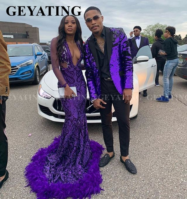 2020 Deep V-Neck Purple Sequin Mermaid Prom Dress With Long Sleeve Feathers Train African Graduation Gowns Women Formal Dresses