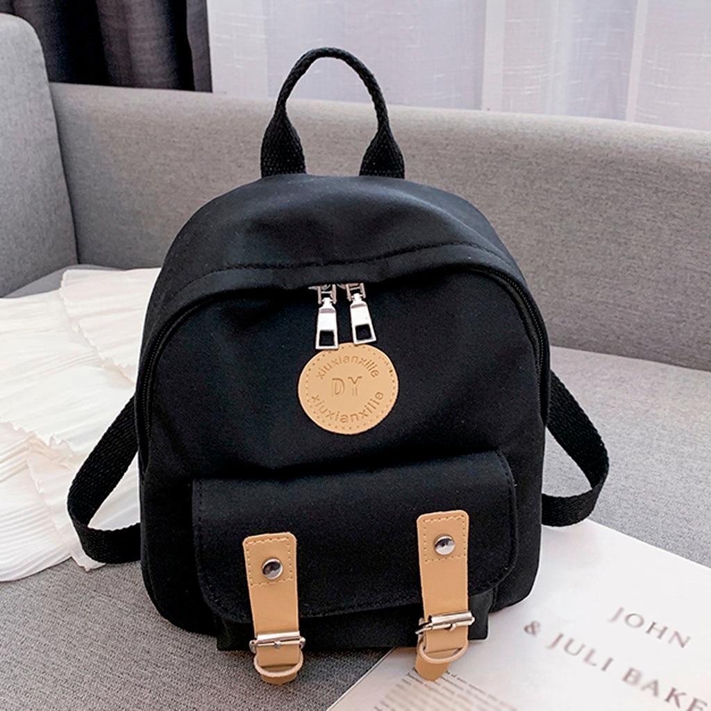 Мини рюкзак, модная сумка тоут, женский простой холщовый рюкзак на молнии контрастных цветов, дорожная сумка, mochilas escolar # j4s|Рюкзаки|   | АлиЭкспресс