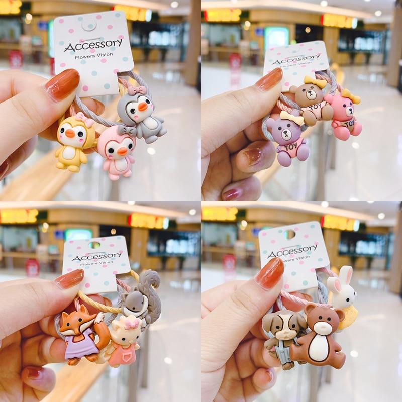 3PCS New Cute Cartoon Flower Penguin Princess Headwear Kids Elastic Hair Bands Children Ropes Girls Accessories Baby Headdress