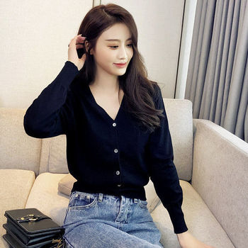 Spring and autumn foreign style short knitted cardigan womens jacket long sleeve purple top large loose V-Neck Sweater