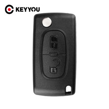 Keyyou 20X2 Knoppen Voor Peugeot 207 307 308 407 807 Remote Flip Folding Key Shell Case CE0536 Geen groef