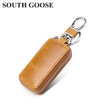 Key Wallets Keychain Housekeeper-Keys-Organizer GOOSE SOUTH Car-Key-Bag Zipper Genuine-Leather