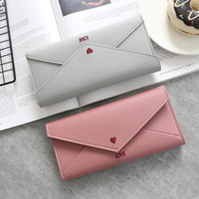 Fashion Long Women Wallets Heart-shaped Letter Embroidery Si