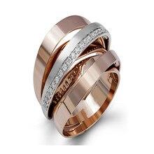 Bague en diamant or Rose 18K 1 Carat pour femme, anneau de mariage, bijoux féminins