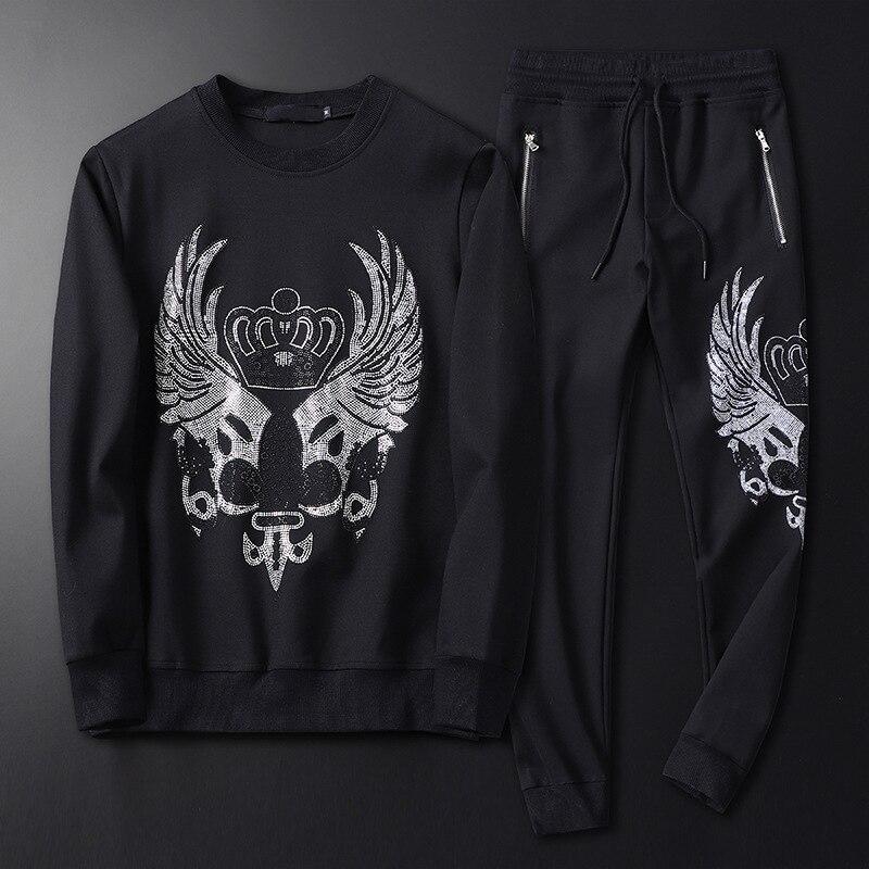 2019 New Men Black Hoodies Suit Casual Clothes Crown Rhinestones Slim Tracksuits Mens Track Suits Set 4XL Sudaderas Para Hombre