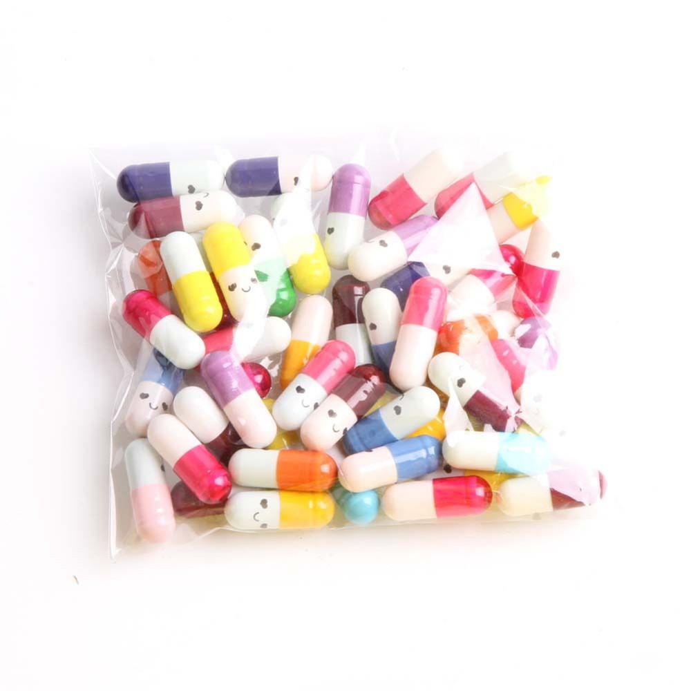 50PCS/Pack Cute Expression Capsules Love Pills Put In Wishing Drift Bottle Lovers Gift School Office Supply