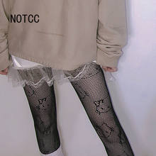 Kitty cat collants mulher fishnet preto gótico collants y2k meia-calça