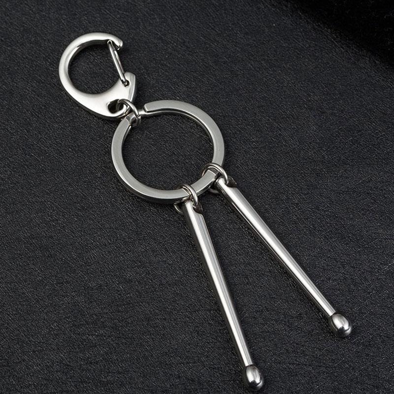 Fashion Stainless Steel Trendy Drum Sticks Keychain Keyring
