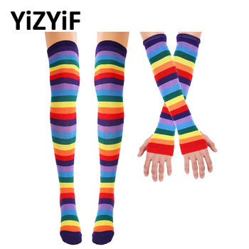 Women Colorful Rainbow Stockings Striped Knee Thigh High Arm Warmer Gloves Perfect for Halloween Costume Fun Party Cosplay фото
