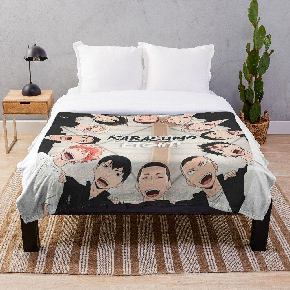 Karasuno Haikyuu Throw Blanket Soft Sherpa Blanket Bed Sheet Single Knee Blanket Office Nap Blanket