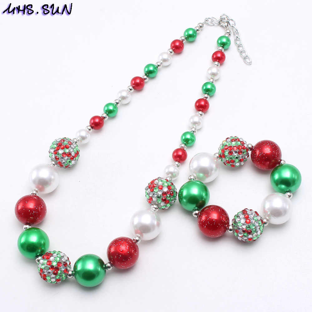 MHS.SUN New Kids Christmas Beads Neccklace Bracelet Child Girls Chunky Red/Green Beaded Jewelry Set For Baby Party Gift Hotter