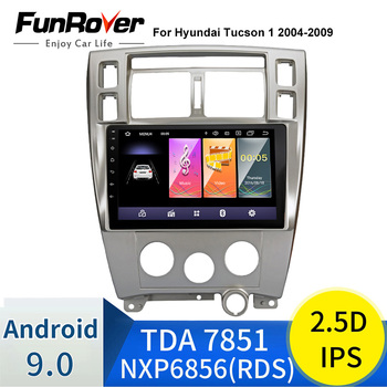 FUNROVER 2.5D+IPS 2 Din Car radio Multimedia dvd player android 9.0 For Hyundai Tucson 2006-2014 stereo gps audio tape recorder