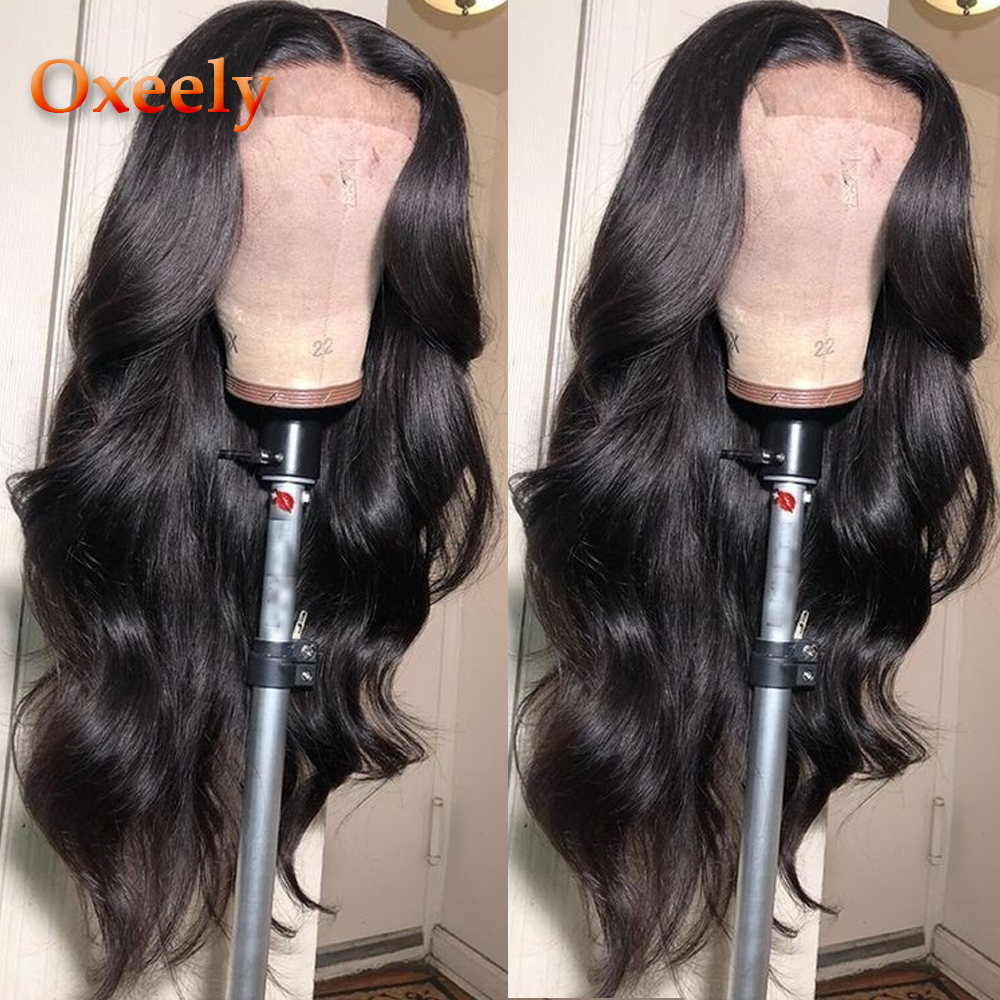 Oxeely Long Wavy Synthetic Lace Front Wigs For Black Women Heat Resistant Fiber Hair 180% Density Natural Black Body Wave Wig