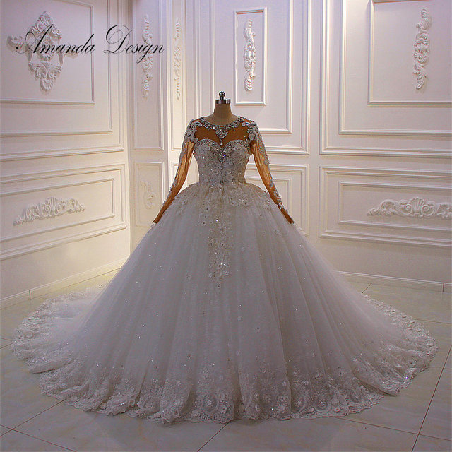 アマンダデザイン新デザイン長袖ラインストーンクリスタルフルスリーブ 3 D の花のウェディングドレス