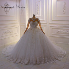 Vestido de novia con diseño de flores 3 D de manga larga con diamantes de imitación y cristales