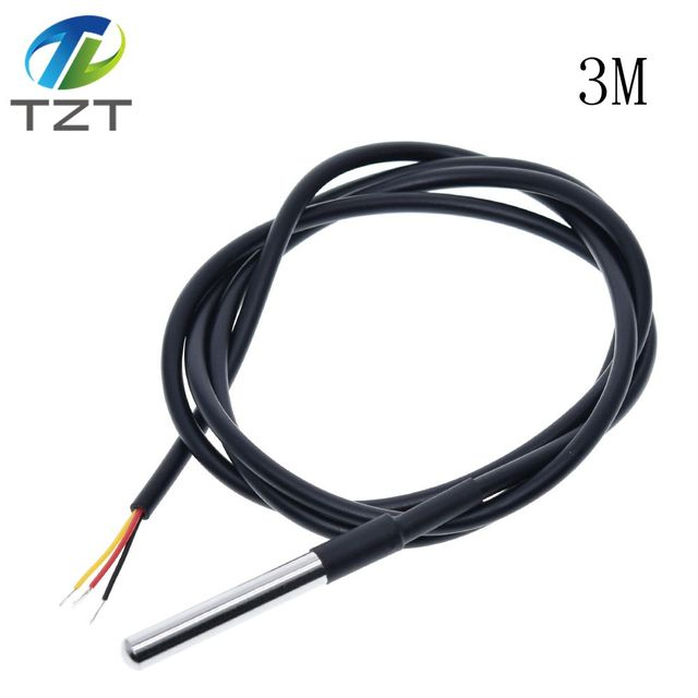 DS18B20 Stainless Steel Probe Waterproof Temperature Sensor 1M Cable PCB kit