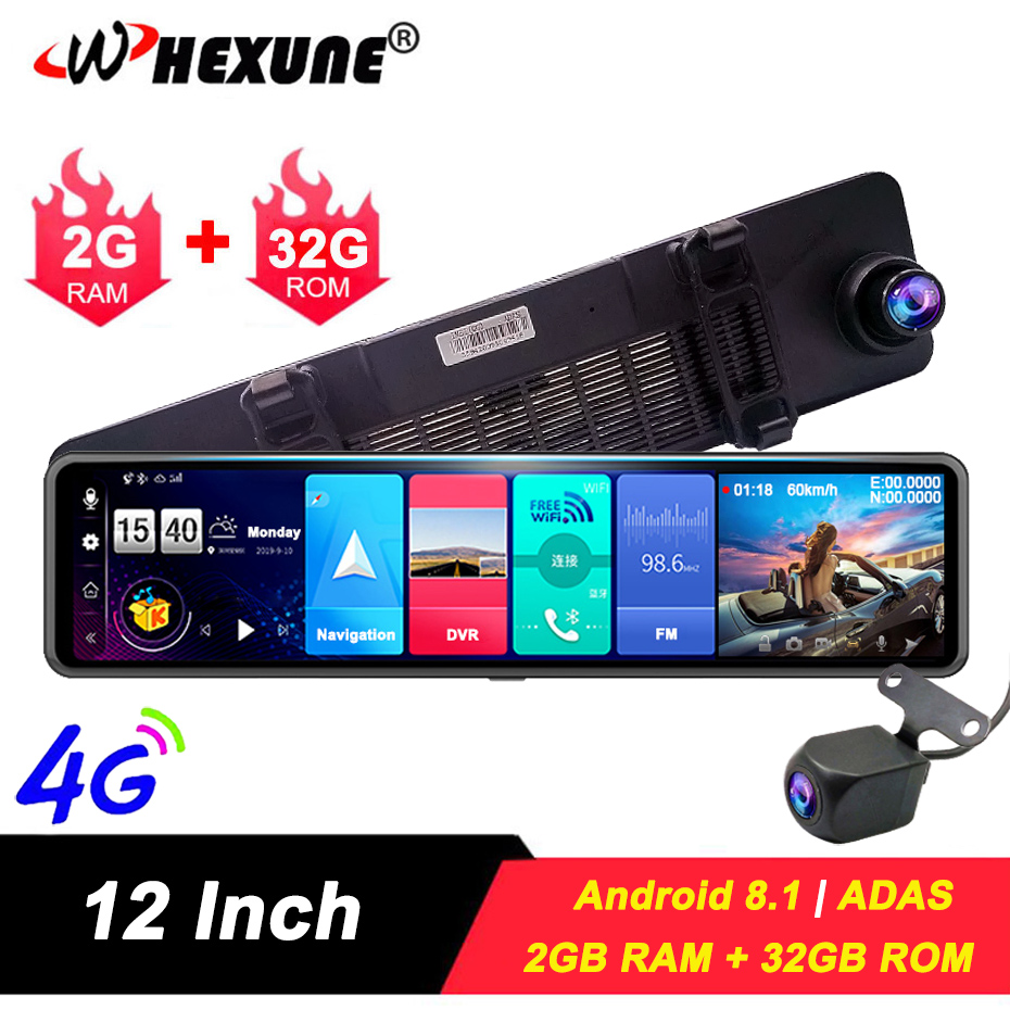 WHEXUNE 12 ips rear view mirror 4G Android 8.1 car camera GPS Navigation 2G RAM 32G ROM ADAS FHD 1080P dash cam video recorder image